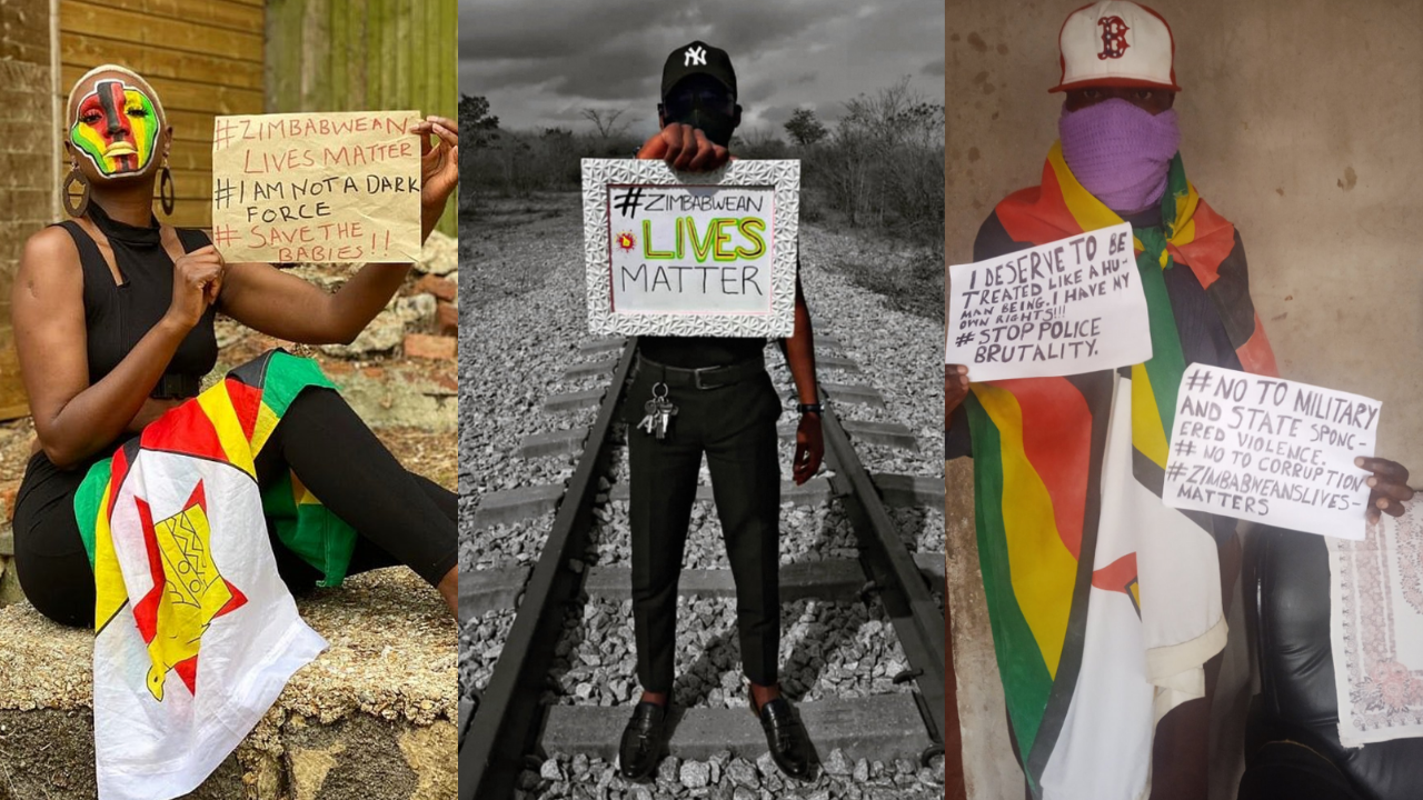 Three photos published on social media as part of the #SoloDemo movement organized by Zimbabweans