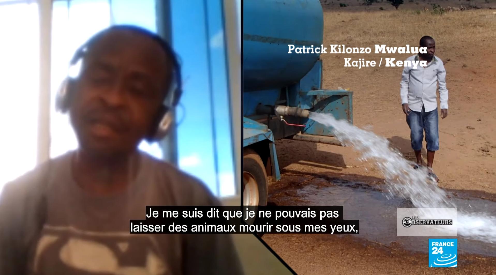 Depuis 2016, Patrick Kilonzo Mwalua sauve les animaux sauvages de la sécheresse dans le parc national Tsavo West. Capture d'écran / Les Observateurs de France 24.