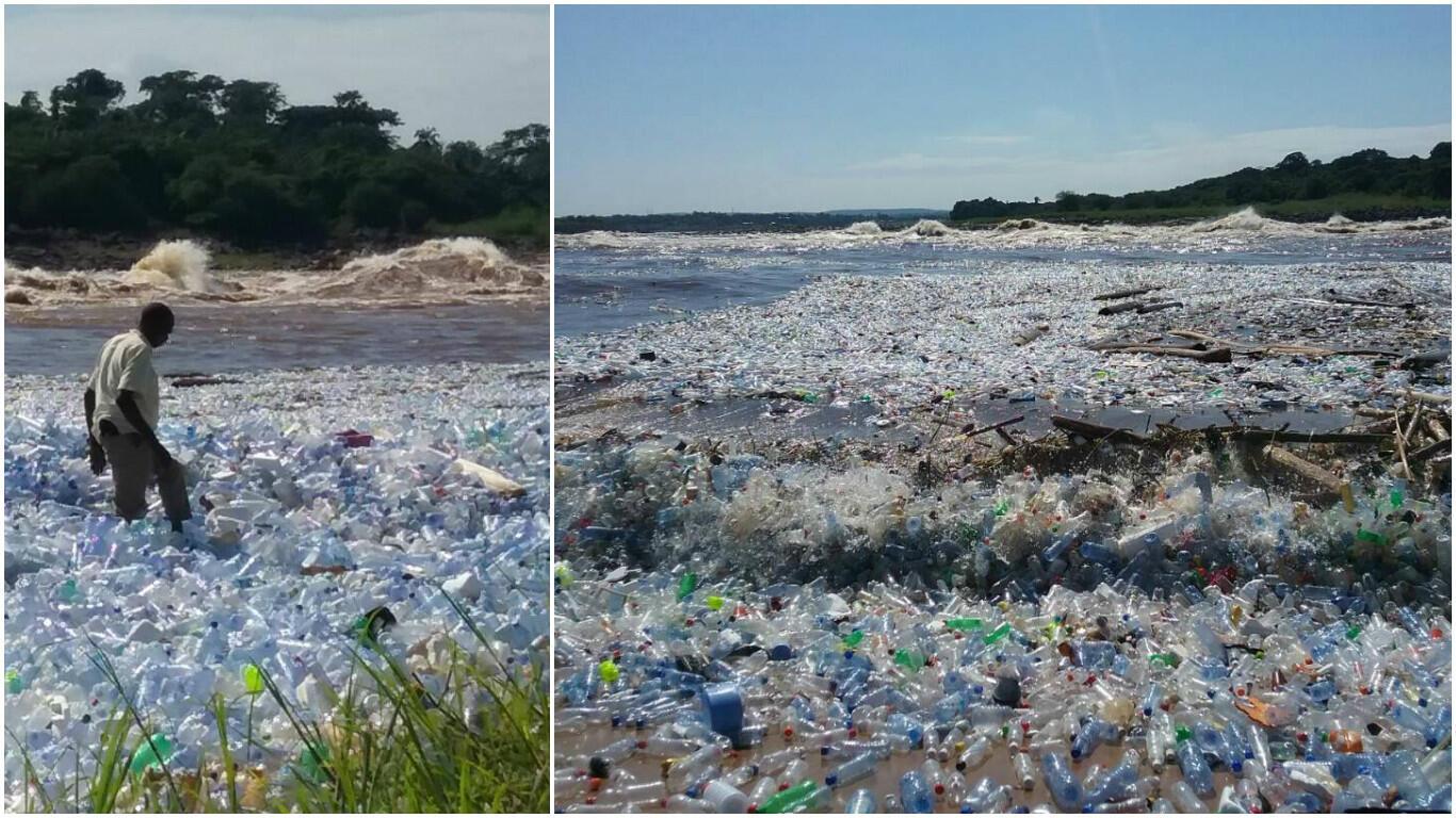 Le fleuve Congo saturé de déchets, notamment de bouteilles en plastique. Photos de notre Observatrice.