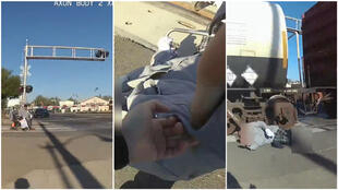 Police officer Erika Urrea rescued man in a wheelchair just before he would have been hit by a high-speed train. Images are screengrabs from video.