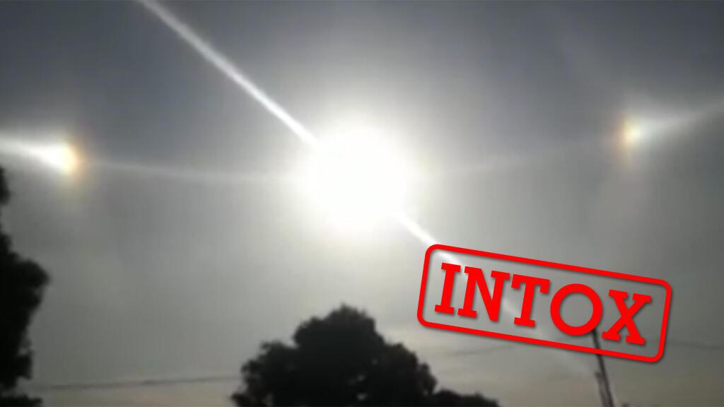 Capture d'écran d'une vidéo virale sur Facebook, et qui montrerait plusieurs soleils se former dans le ciel, au Burkina Faso.