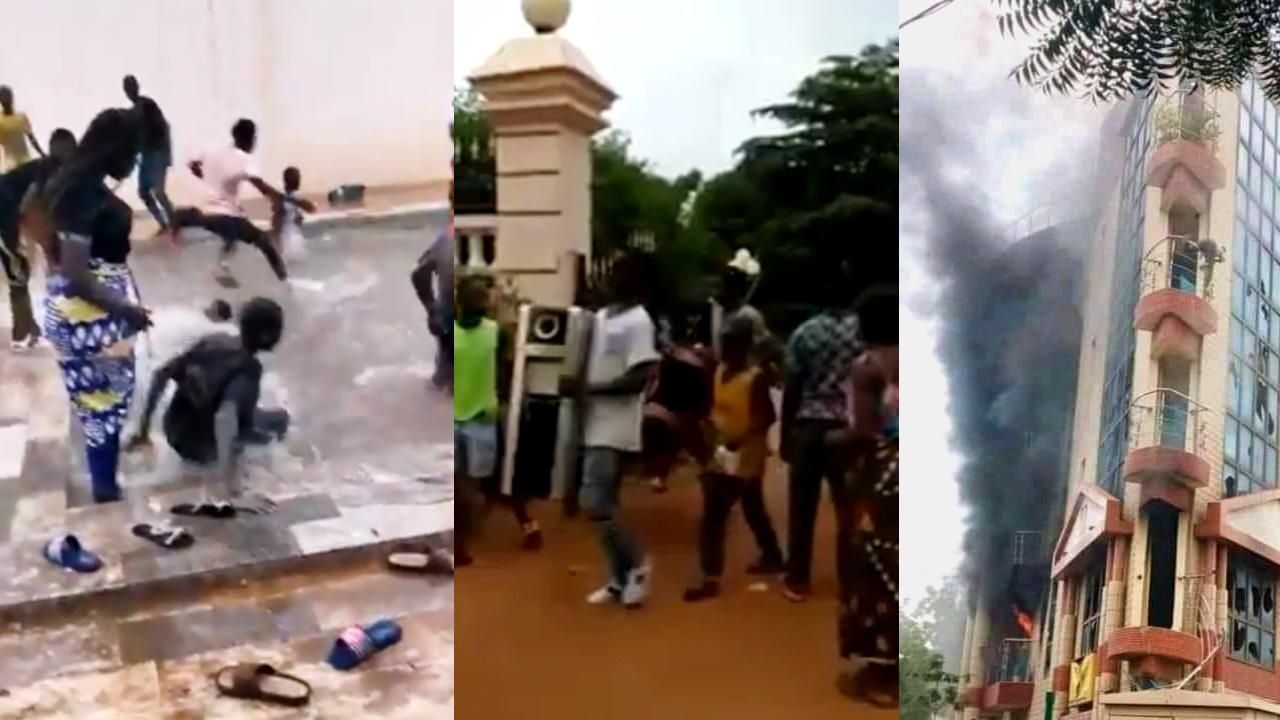 Après le coup d'État au Mali, des manifestants ont attaqué plusieurs symboles du pouvoir : le domicile de Karim Keïta, fils du président malien (à gauche), la résidence du ministre de la Justice (au centre) et les bureaux de ce dernier.