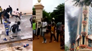 Left: protesters at the home of Karim Keita, son of the Malian president. Centre: residence of the Minister of Justice. Right: demonstrators at the law offices of the Minister of Justice.