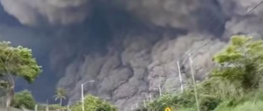 Ash clouds shot up to 10 kilometres in the sky. Screengrab from the video below.