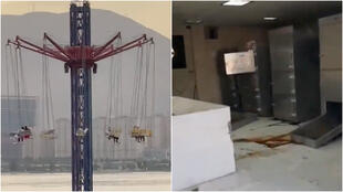 Left: People became stuck in a theme park attraction after a power outage in Tehran on May 22. Right: The refrigeration functions of a morgue in Bushehr were interrupted during a power cut on May 23.