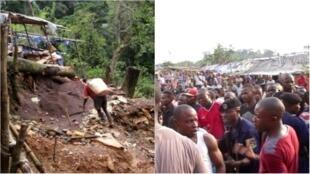 Dans les mines de Bisié en RDC, un mineur artisanal remonte son butin de cassitérite (à gauche). Beaucoup de mineurs vivent de cette exploitation illégale, et refusent de partir malgré des tentatives de médiation (à droite). Images Guylain Balume.
