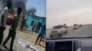 على اليسار، صور شاشة من مقطع فيديو لعمليات تخريب في بورت سودان وناشره يتهم قوات الأمن بالتساهل مع المواجهات القبلية. على اليمين، قوات الدعم السريع في طريقها إلى بورت سودان قادمة من الخرطوم