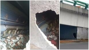 A total of 19 coffins were discovered under this bridge on September 7 in the Mexican city of Tlalnepantla de Baz. Photos posted on Facebook by Angel Porter.