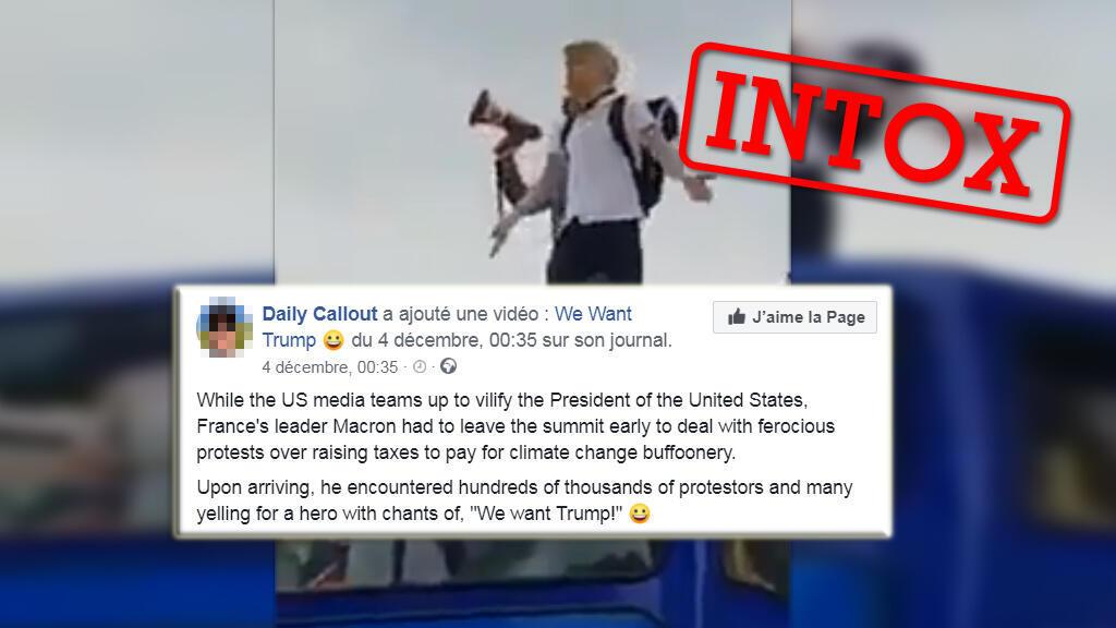 """Des publications affirment que cette vidéo montrerait des """"Gilets jaunes"""" réclamer Donald Trump en France."""