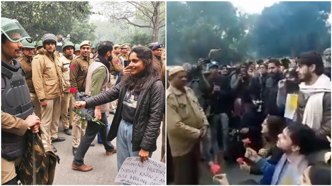 Des images de manifestants offrant des fleurs à la police à New Delhi jeudi 19 décembre sont devenues virales sur les réseaux sociaux. Crédits : à droite Saurabh Trivedi (Twitter/@saurabh3vedi) ; à gauche Rohit Thayyil (Twitter/@RohitThayyil).