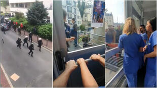 Captures d'écran de deux vidéos publiées le 1er mai, montrant un groupe de manifestant entrant dans l'enceinte de l'hôpital de la Pitié Salpêtrière à Paris.
