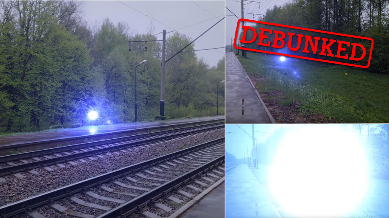 An apparent amateur video of a ball of white lightning moving over a train track has intrigued social media users.