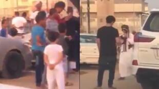 صورتان من الشاشة للفيديو الذي يظهر رجلا من إحدى المدن السعودية وهو يطلق النار عشوائيا وسط حي سكني.