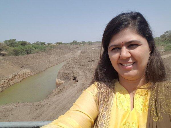 Un des selfies pris par Pankaja Munde dans la région de Latur, très touchée par la sécheresse.
