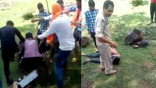 In a video that has gone viral, a mob reciting Hindu nationalist slogans beats a man lying on the ground, even as a police officer arrives. (Photos: Twitter)