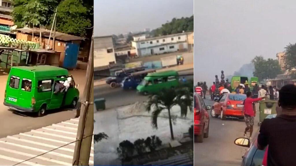 """Le mystérieux """"gbaka"""" vert bondé d'hommes armés de machettes qui auraient attaqué les manifestants, le 13 août à Yopougon. Capture d'écran."""