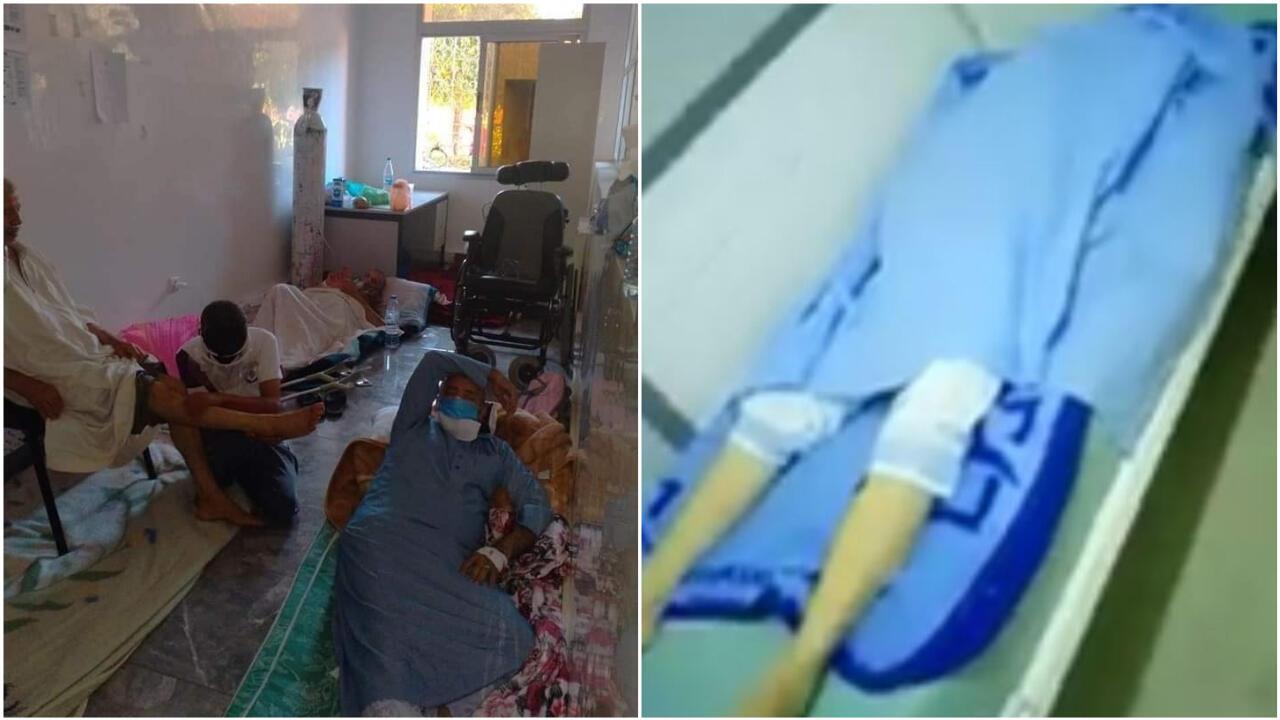 على اليسار، مرضى مصابون بكوفيد-19 في مستشفى ابن زهر في مراكش يتلقون العلاج في ظل ظروف صحية متدهورة. على اليمين، جثة مريض توفي بفيروس كورونا متروكة في عنبر نفس المستشفى.