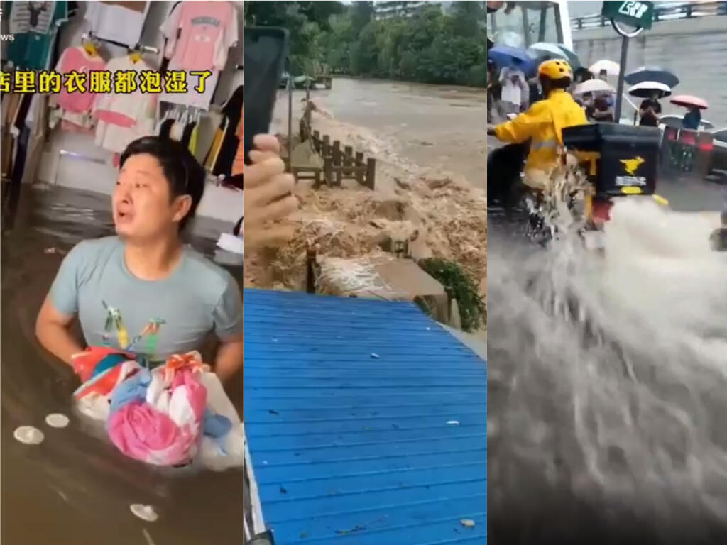 Left: a man attempts to save merchandise from a flooded shop. Center: Flooding above Three Gorges Dam. Right: a motorcycle riding against currents.