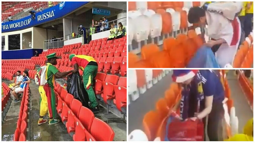 Japanese and Senegalese fans cleaning up after their teams' wins.