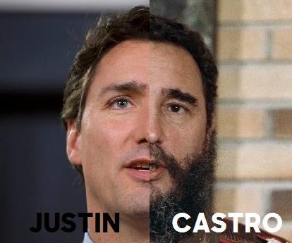 Montage de Justin Trudeau et Fidel Castro publié sur les réseaux sociaux.