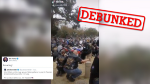 President Donald Trump's son tweeted this video, alleging that it showed a group of leather-clad bikers praying for Trump. Turns out, that's not the actual story behind this video. (Screengrab)