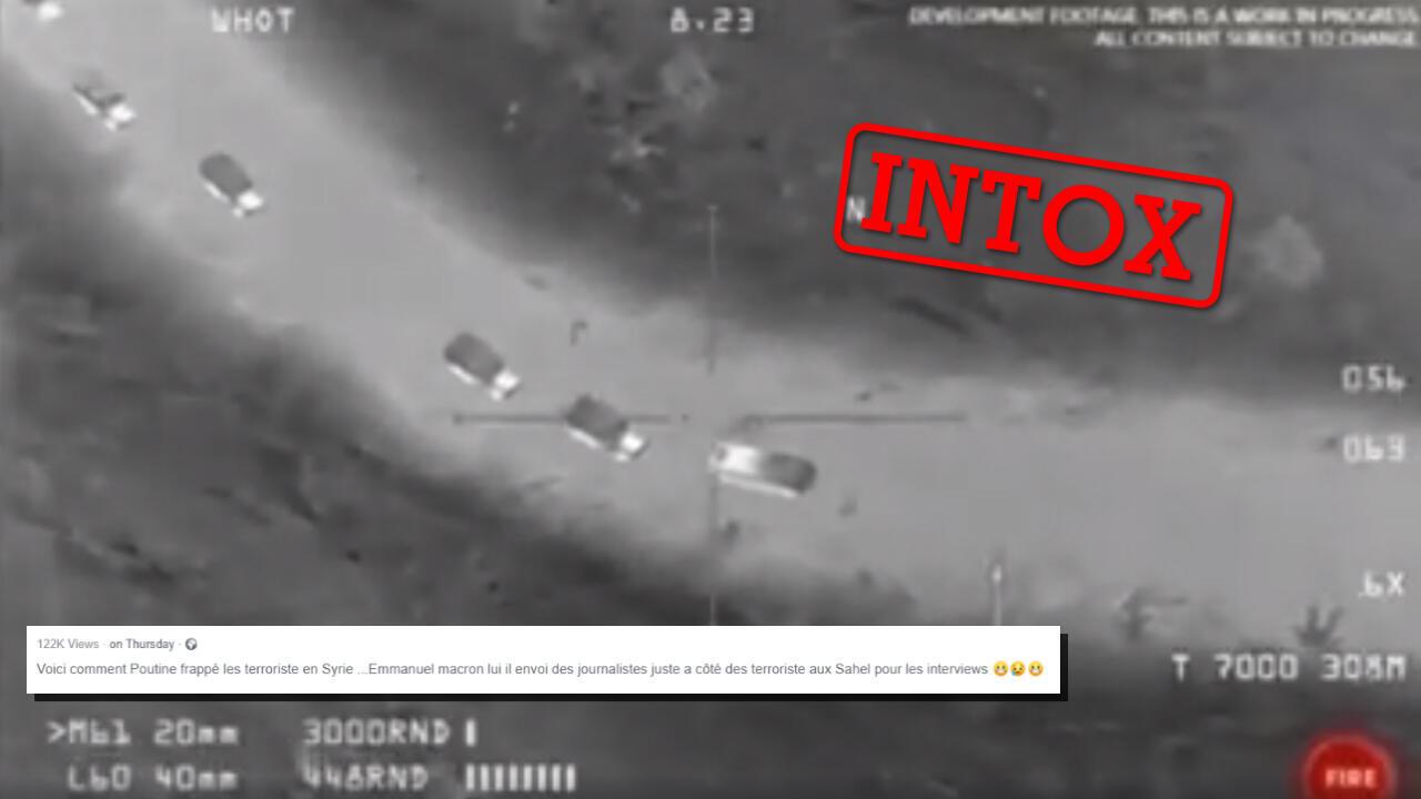 Cette vidéo publiée le 26 décembre ne montre pas une frappe russe en Syrie contre des terroristes. Capture d'écran et montage : Les Observateurs de France 24.