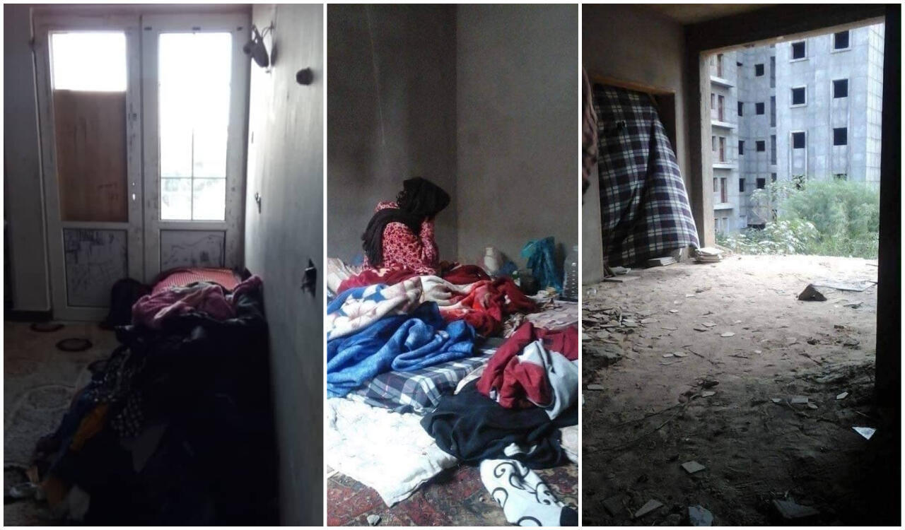 نازحة مجبرة على العيش في بناية قيد الإنشاء في طرابلس. الصور منشورة عبر فيس بوك.