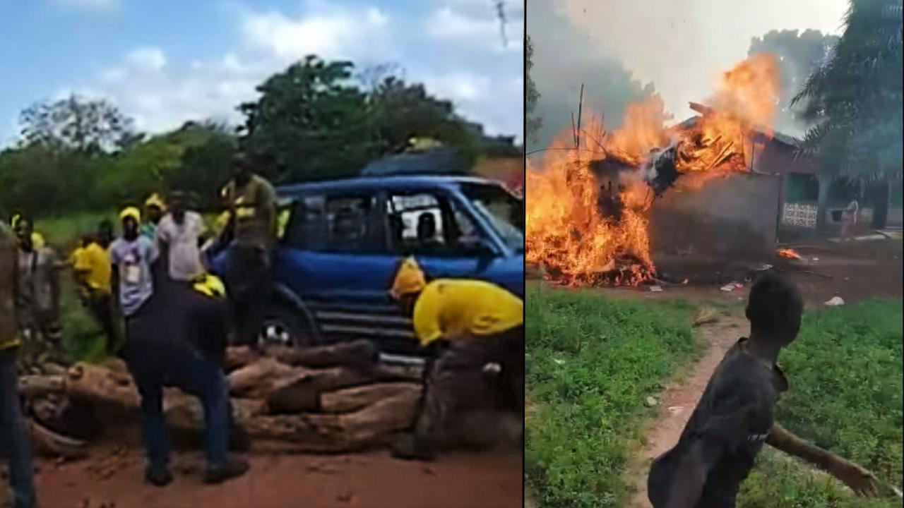 Le convoi de l'UFDG a été bloqué par des hommes portant des t-shirts jaunes alors qu'il se rendait à Kankan (à gauche), et des maisons d'un quartier majoritairement peul ont été incendiées à Kankan (à droite), le 11 octobre. Captures d'écran Facebook.
