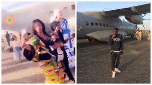 À gauche, capture d'écran d'une vidéo tournée à l'aéroport de Nioro du Sahel ; à droite, photo publiée par le rappeur Tal B.