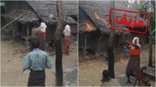 سلطات بورما تدعي أن هذه الصور تظهر مسلمين من الروهينغا وهم يقدمون على إضرام النار في منازلهم.