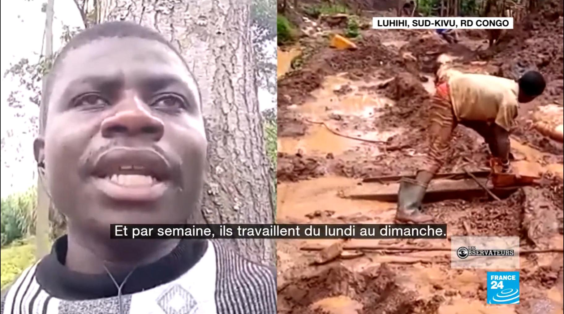Idi Kyalondwana, qui travaille dans une coopérative minière de concassage de pierres, a filmé plusieurs vidéos attestant de la présence d'enfants dans les mines d'or artisanale du Sud-Kivu, dans l'est de la République démocratique du Congo.