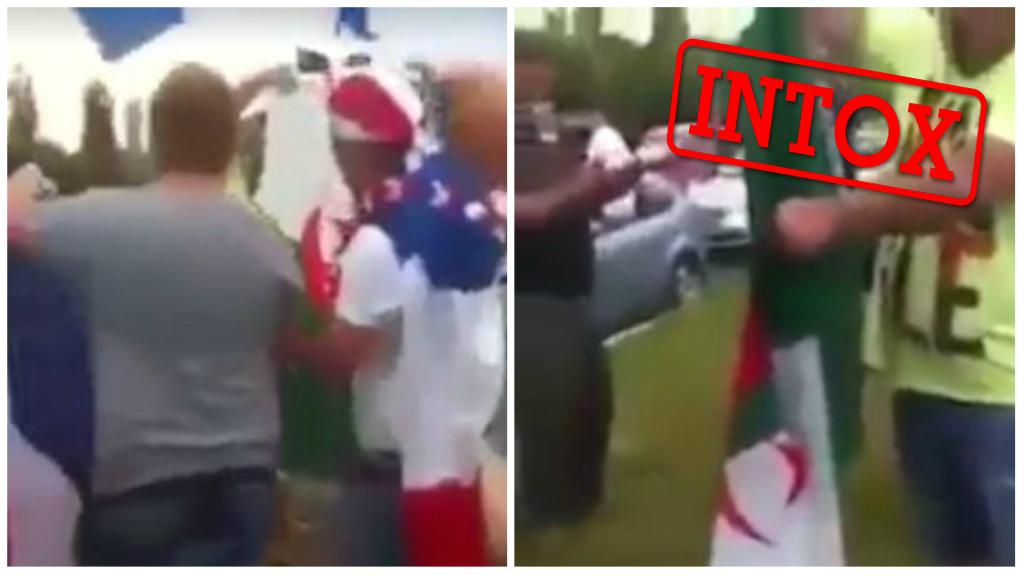 Capture d'écran montrant des vidéos relayées ces derniers jours sur Facebook et qui prétendent que des supporters français ont brûlé le drapeau algérien après la victoire de l'équipe de France sur l'Argentine, samedi 30 juin.