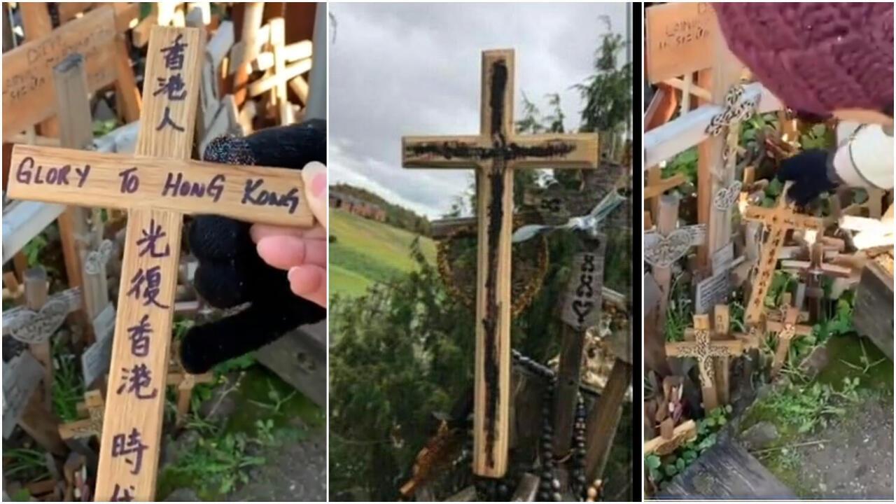 Des croix aux slogans pro-manifestants hongkongais vandalisées par des Chinois nationalistes en Lituanie.