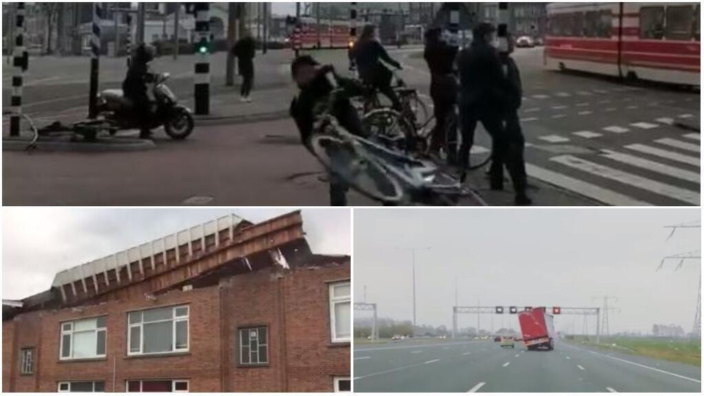 Captures d'écran de vidéos montrant la tempête David aux Pays-Bas le 19 janvier.