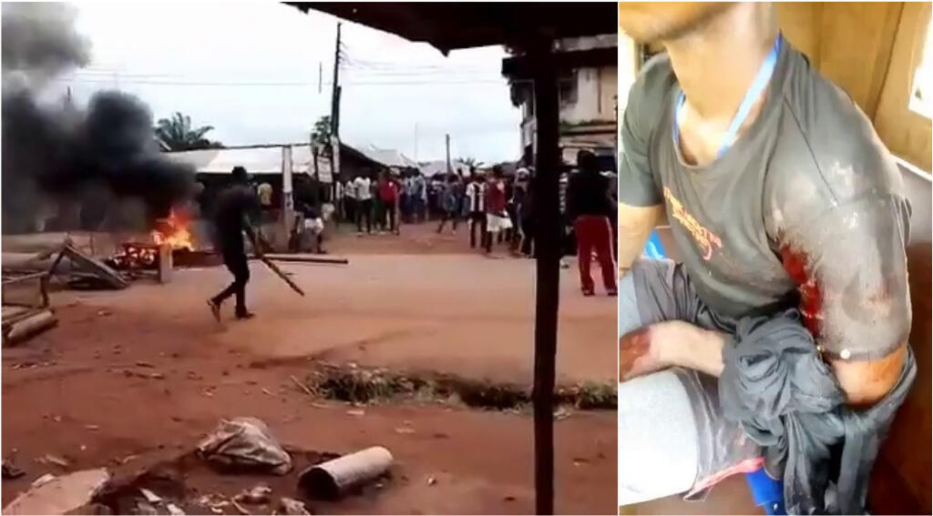 À gauche : capture d'écran d'une vidéo montrant un civil, un bâton à la main, alors que des coups de feu se font entendre. À droite : un membre de l'IPOB blessé par balle après un affrontement. Photos : Twitter.