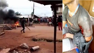 Left: A video showing a civilian carrying a stick in defence as gunshots are heard in the background. Right: An IPOB member with a gunshot wound after the clash. (Source: Twitter.)