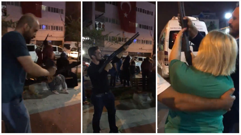 Screengrab of a video showing Erdogan's supporters celebrating his election victory by firing machine guns and shotguns in Istanbul. (Video posted on Facebook on June 26)