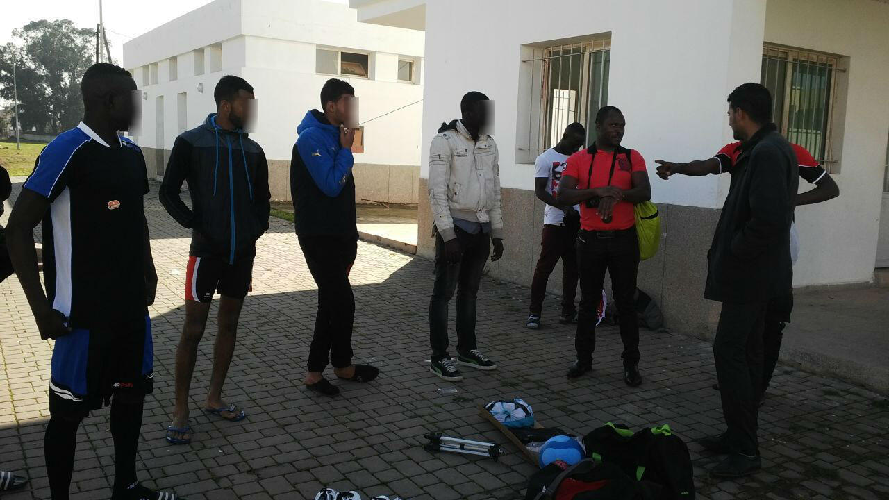 Young Ivorian football players in Casablanca. Image sent by one of them and blurred by France 24.