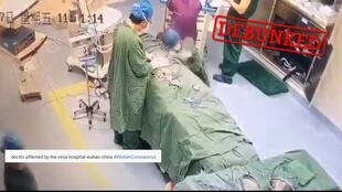 People circulated this video on social media, claiming it shows a doctor, ill with coronavirus, collapsing in a hospital in Wuhan. It turns out that's not the real story.