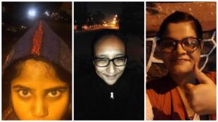 """Photos publiées sur le compte Twitter de """"Blank Noise"""" (@Blanknoise), prises à Bangalore, Jaipur (il s'agit de notre Observatrice Aditi Ameria) et Bombay (de gauche à droite)."""