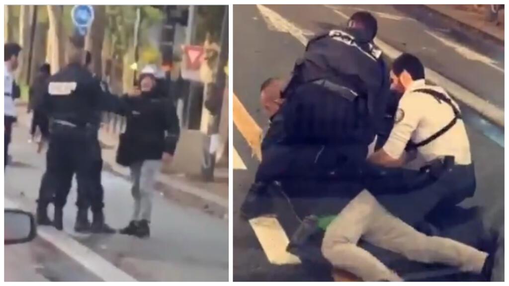 À gauche, Cédric Chouviat filme les policiers avant que ceux-ci ne l'interpellent ; à droite, les policiers immobilisent Cédric Chouviat en pratiquant un plaquage ventral.