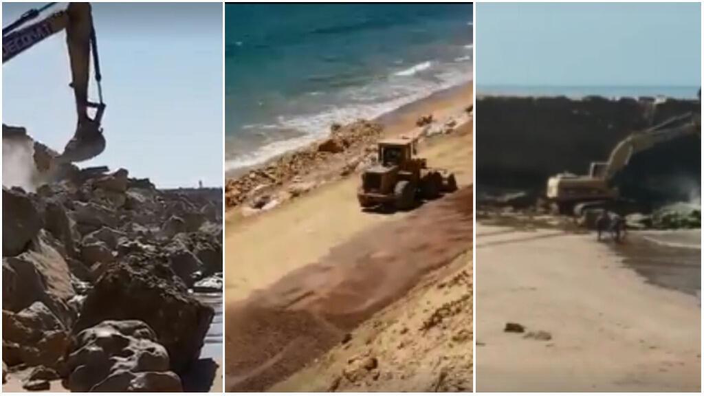 Les travaux ayant lieu dans les plages de Taghazout et Immiouaddar. Photos de nos Observateurs.