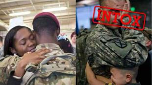 De nombreuses fausses images de soldats américains qui partent en guerre contre l'Iran font le tour des réseaux sociaux. Images publiées sur Facebook.