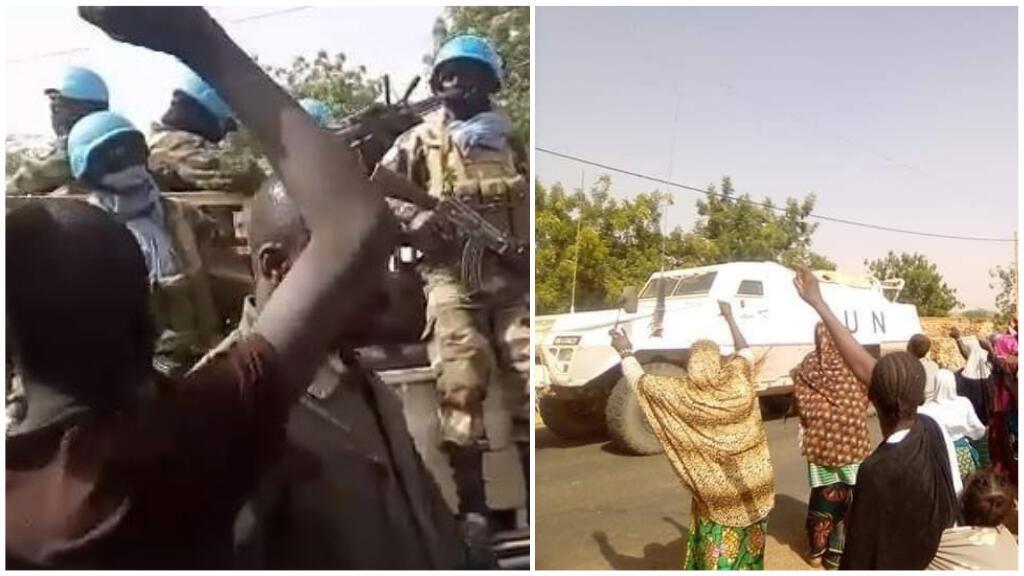 Captures d'écran des vidéos montrant le départ contraint de véhicules de la Minusma sous la pression d'habitants de Bandiagara dans le centre du Mali.