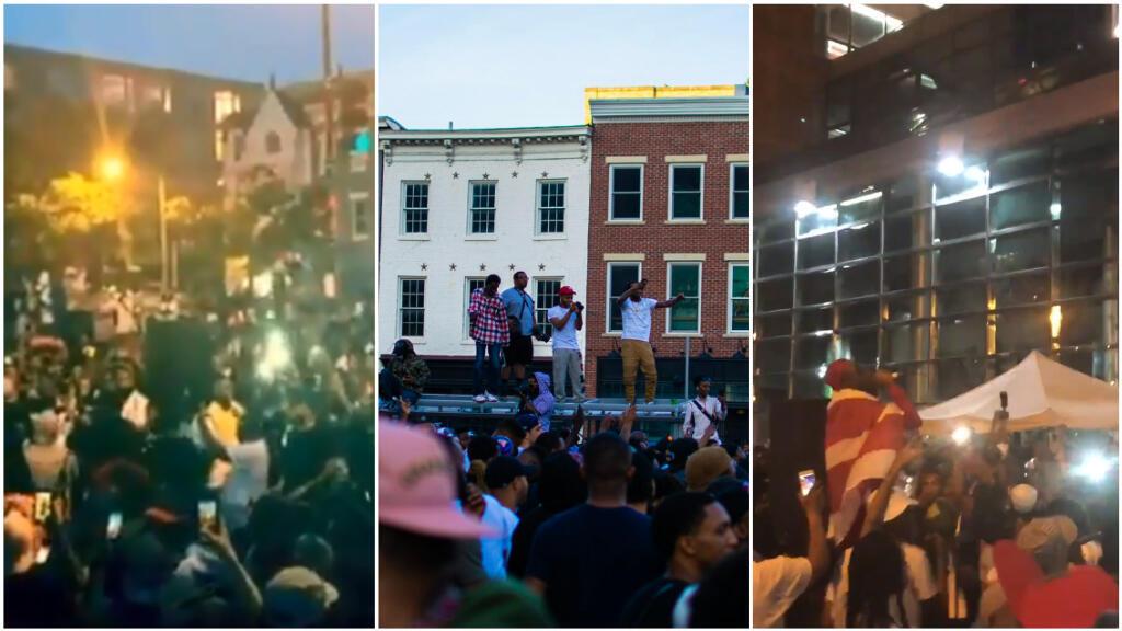 Des habitants rassemblés autour de la musique go-go, née à Washington, après qu'un magasin ait été sommé d'arrêter la diffusion de cette musique, suite à une plainte du voisinage (Photos: Twitter).