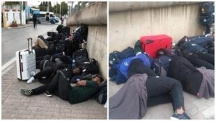 The Zimbabwean men's rugby team slept outside on July 2 in Béja, Tunisia. (Photos: Twitter, Screengrabs)
