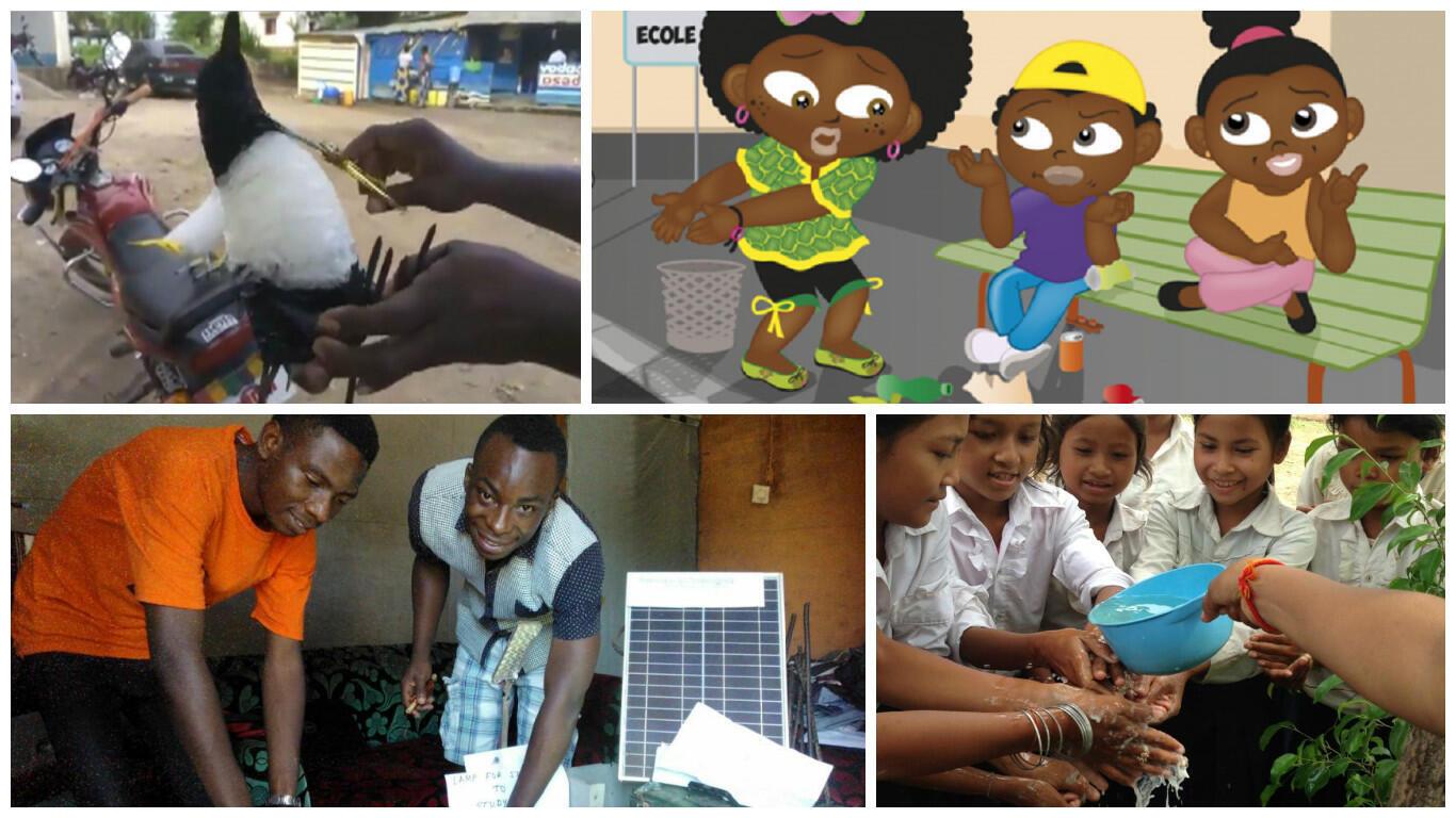 Des animaux avec des déchets plastiques en RDC, une héroïne qui sensibilise à l'environnement au Sénégal, des savons pour sauver des vies au Cambodge ou un électricien qui recycle des déchets en RDC... votez pour votre projet préféré !