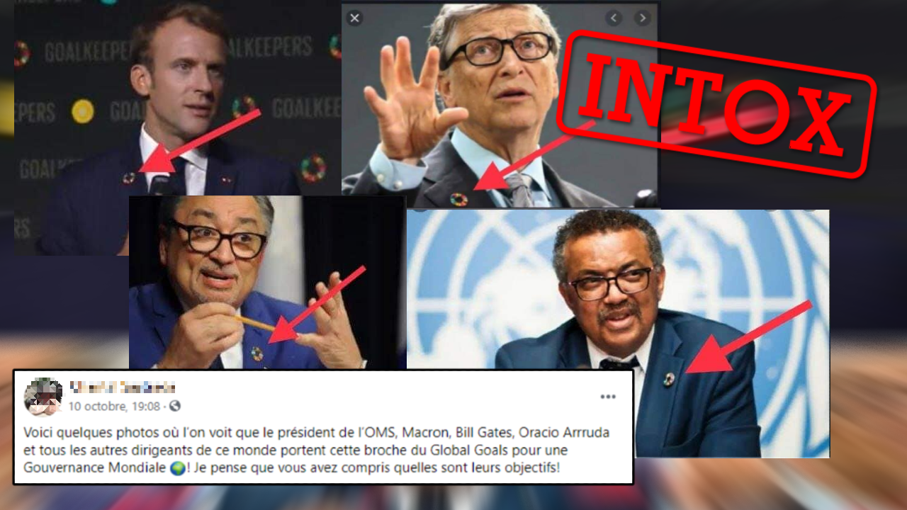 Emmanuel Macron, Bill Gates, le président de l'OMS et le directeur national de la Santé publique du Québec arborent tous un badge multicolore. Appartiennent-ils à un groupe secret ? Pas vraiment.