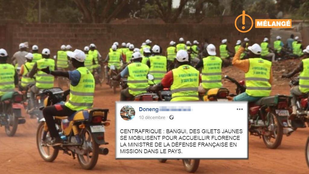 """Une fausse image pour illustrer une manifestation réelle... On fait le point sur cette intox """"Gilets jaunes"""" venant de Centrafrique."""