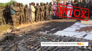 Des publications sur des comptes maliens affirment qu'une vidéo montre une prise récente de l'armée malienne. Capture d'écran Facebook.